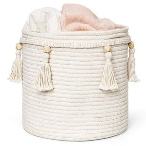 UO Macrame Cotton Rope Storage Bin Laundry Basket